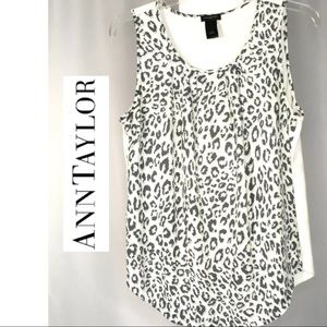 Ann Taylor Leopard Grey Chettah Print Blouse S